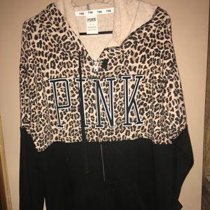 Victoria Secret Pink Leopard/Cheetah zip Hoodie